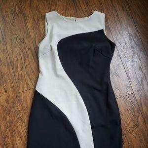 Black and cream sleeveless dress